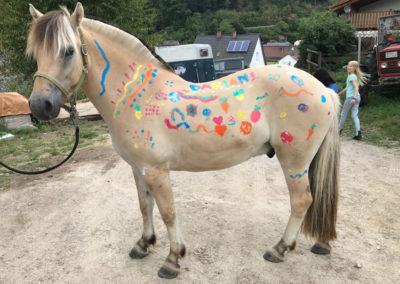 Ein Pferd wird bemalt.